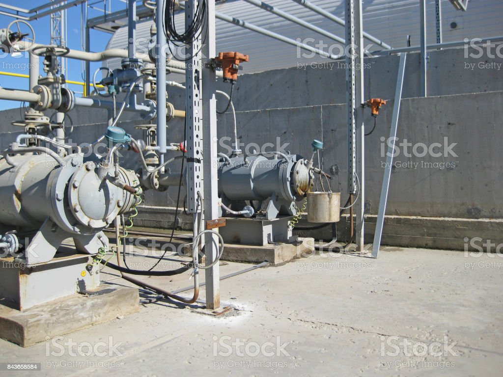 The pump for pumping hot products of oil refining stock photo