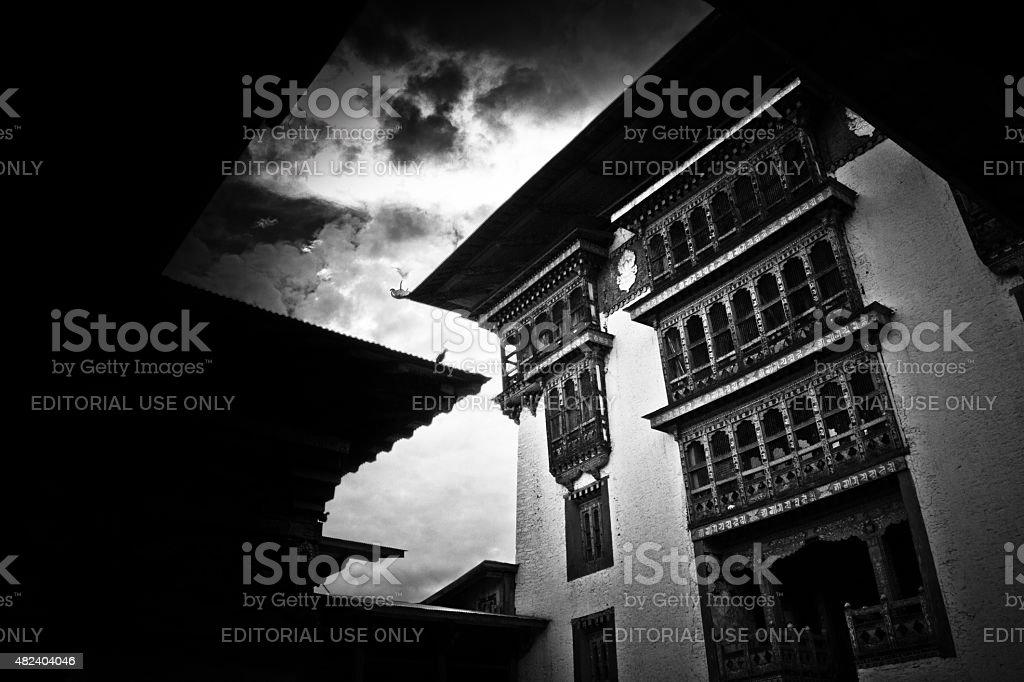 The Punakha Fortress Monastery, Paro, Bhutan in black and white stock photo
