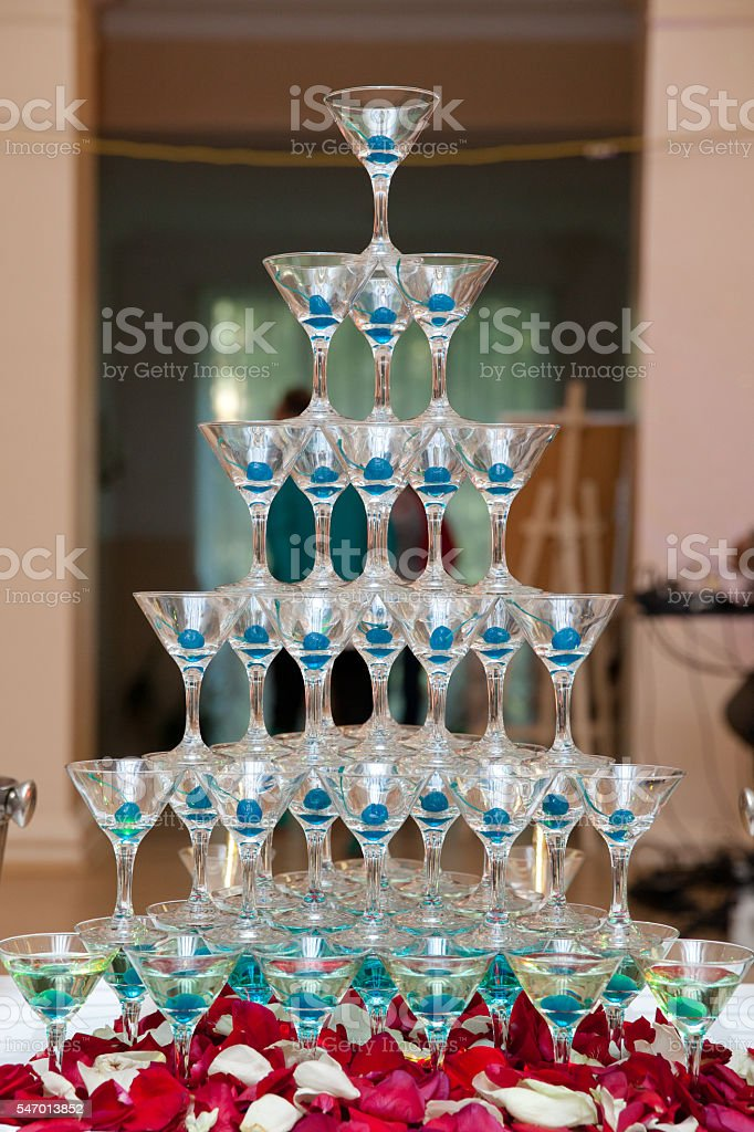 the pyramid of glasses stock photo
