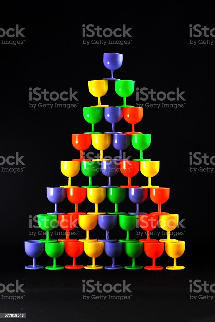 The pyramid of glasses. stock photo