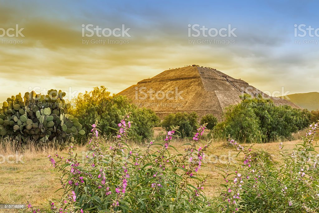 The Pyramid of the Sun, Teotihuacan. stock photo