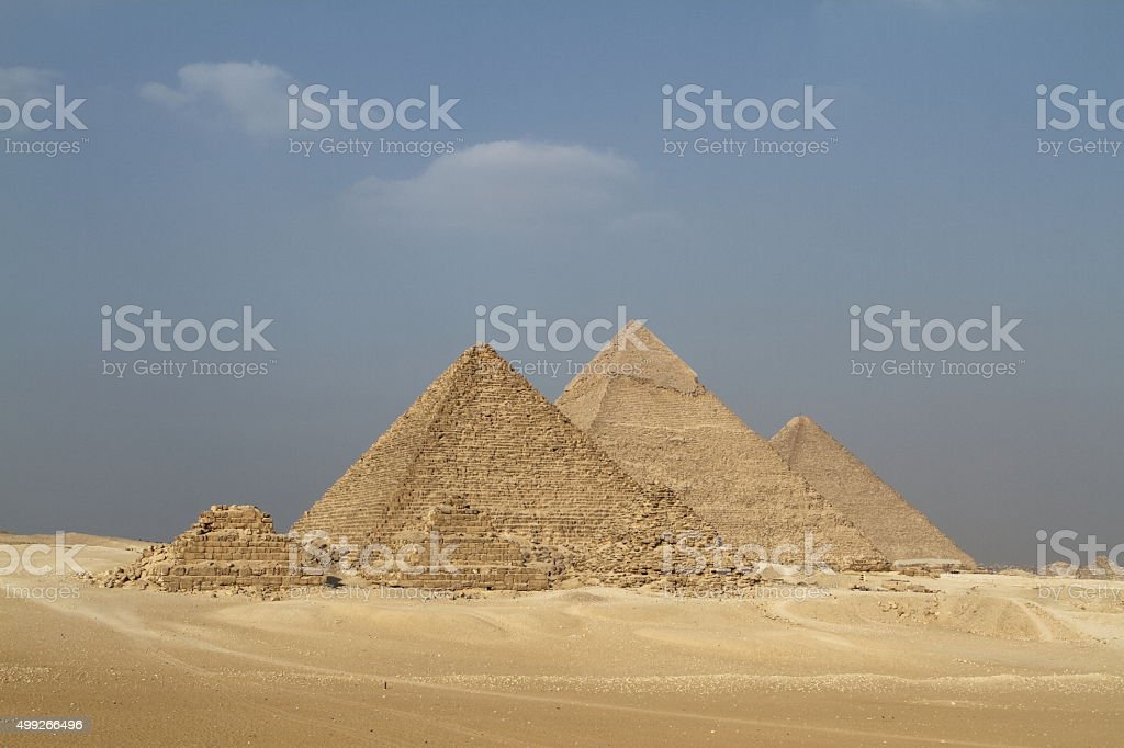 The Pyramids and Sphinx of Giza in Egypt stock photo