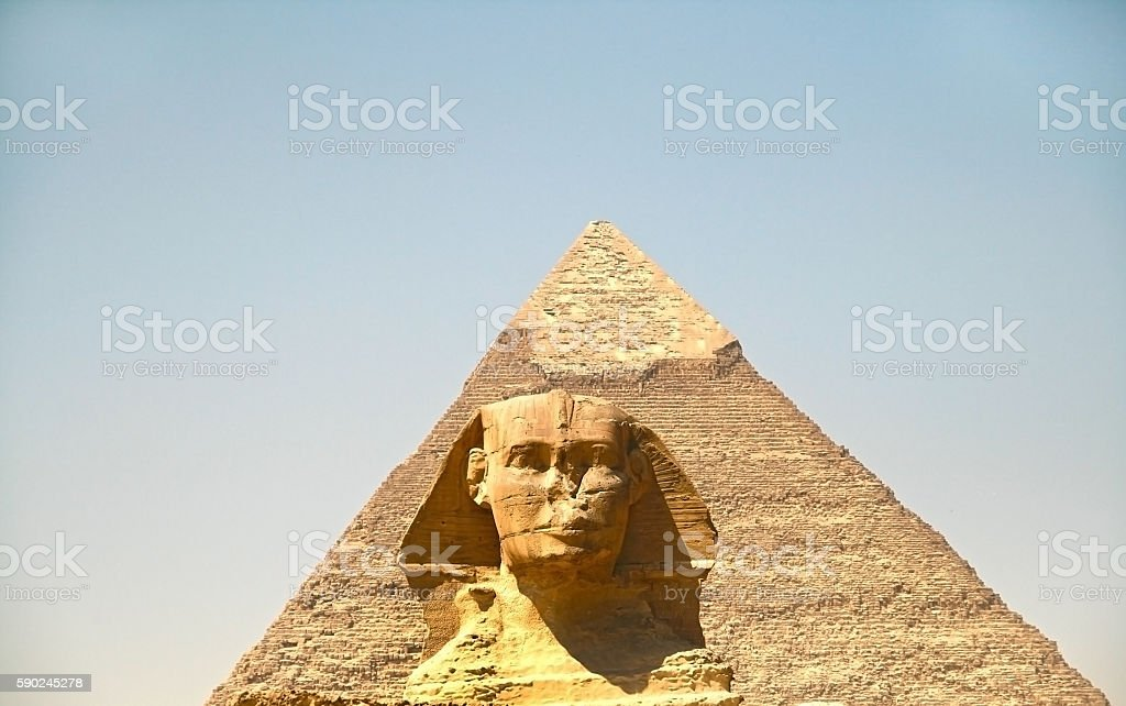 The Pyramids and the Sphinx at Giza. Egypt. September 2008 stock photo