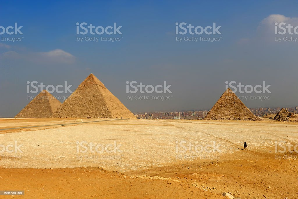The Pyramids of Egypt at Giza stock photo