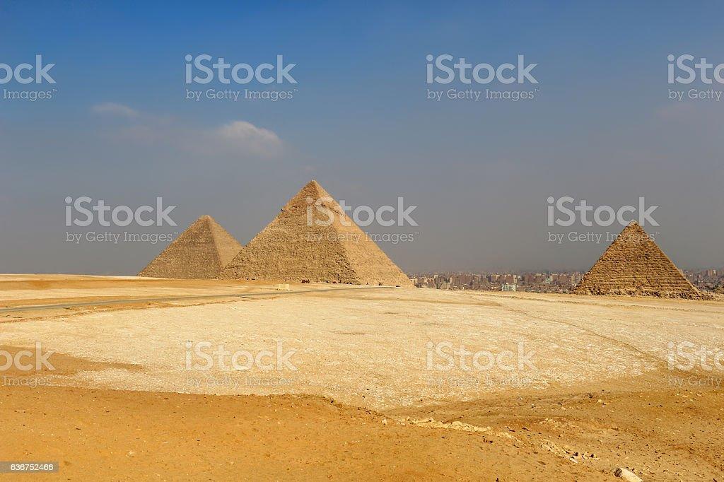 The Pyramids of Egypt at Giza stock photo
