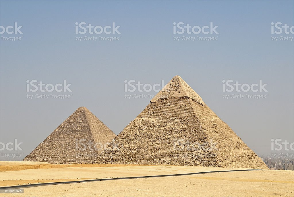 The pyramids of Giza in afternoon lights royalty-free stock photo