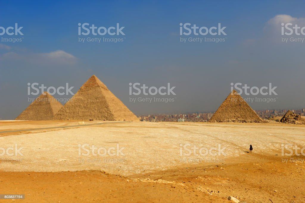 The Pyramids of Giza, man-made structures from Ancient Egypt stock photo