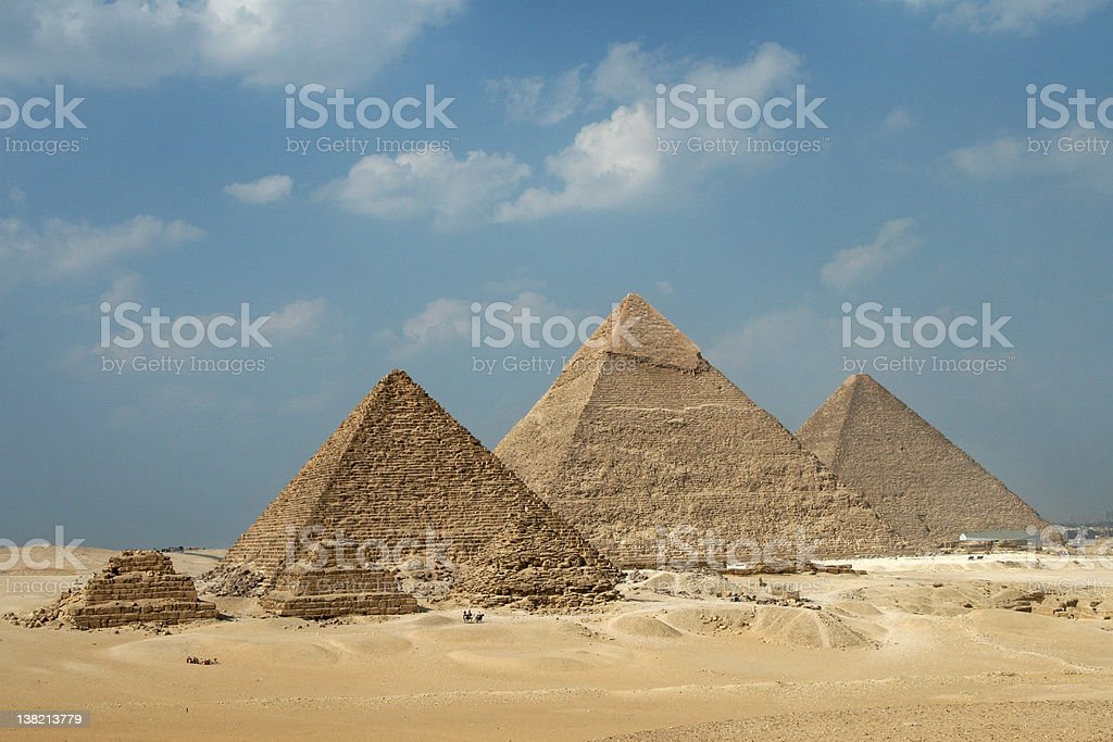 The pyramids of Giza on a bright day stock photo