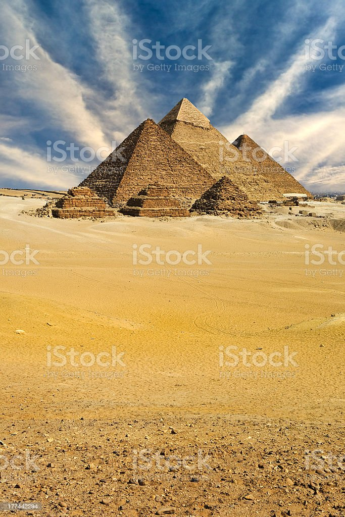 The Pyramids of Giza stock photo