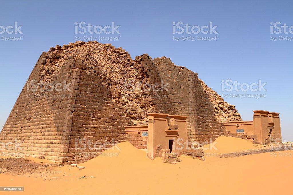 The pyramids of Meroe in the Sahara of Sudan stock photo