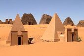 The pyramids of Meroe in the Sahara of Sudan