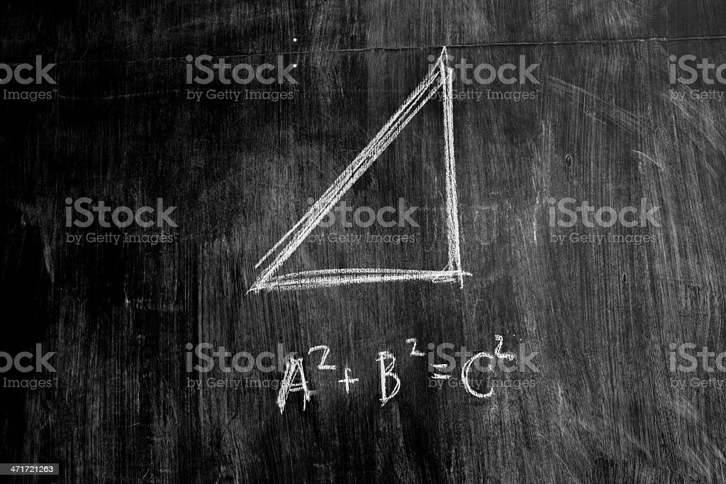 The Pythagorean theorem on a blackboard stock photo