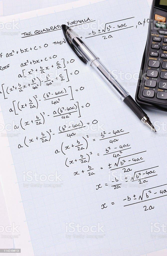 The Quadratic Formula royalty-free stock photo