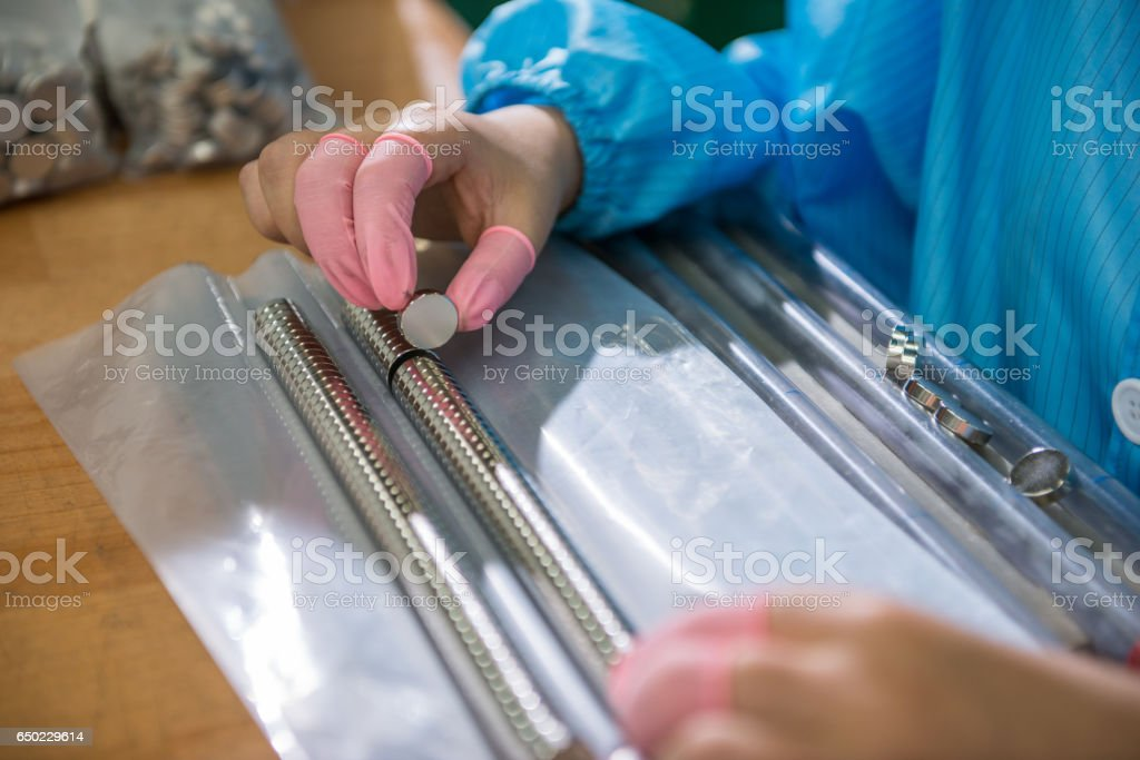 The quality inspector is checking the item stock photo