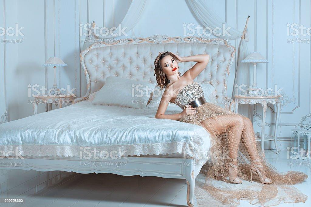 The Queen bedroom. stock photo