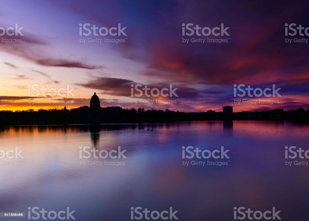The Queen City at Sunset stock photo