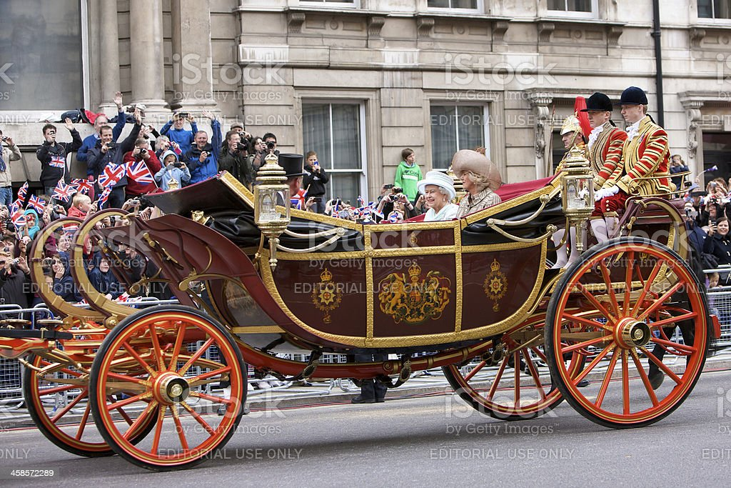 The Queen in a State Landau at her Diamond Jubilee royalty-free stock photo