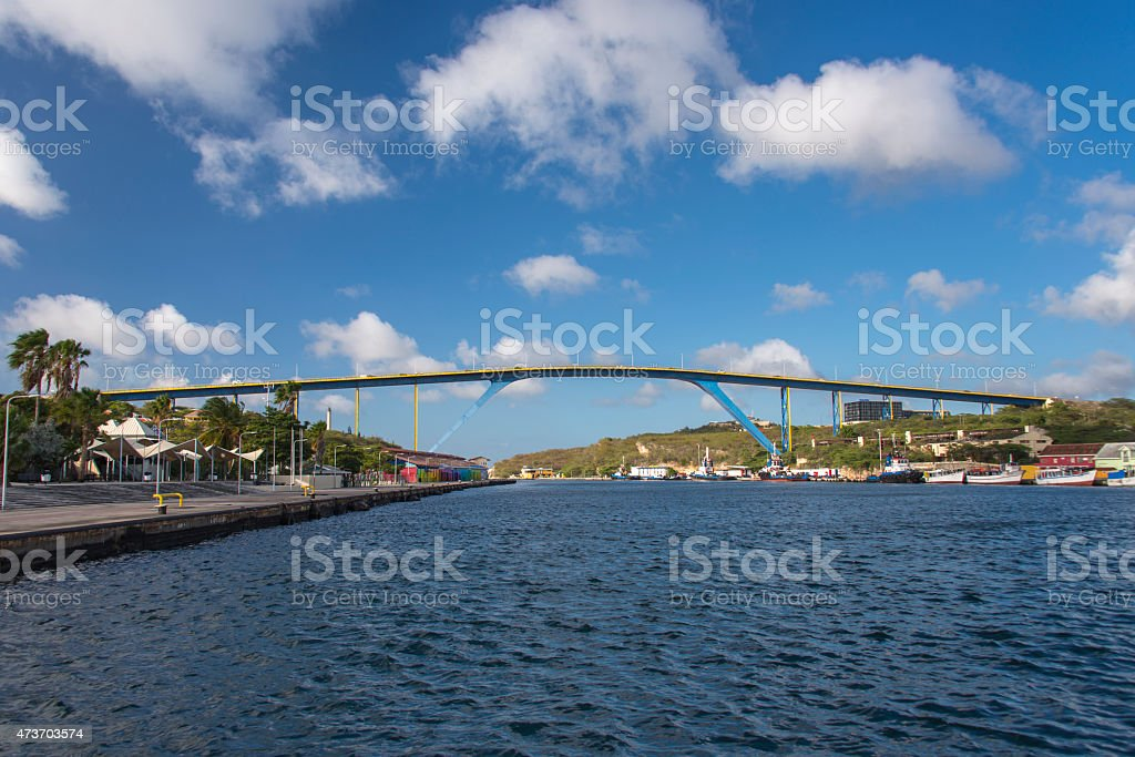 The Queen Juliana Bridge in Willemstad stock photo