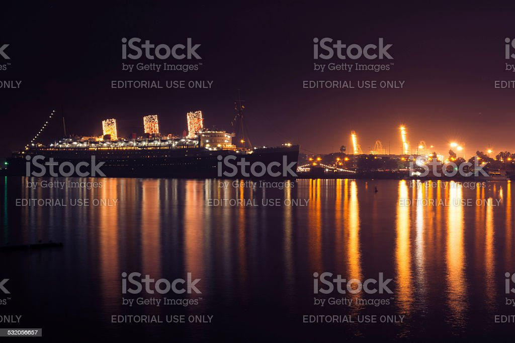The Queen Mary in Christmas lights stock photo