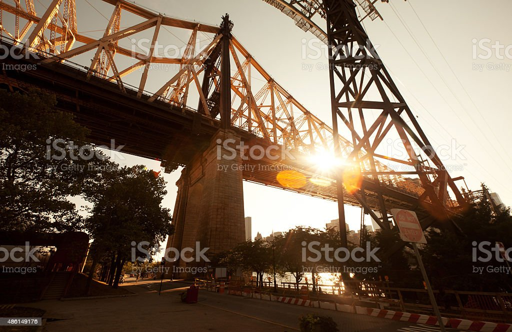 The Queensboro Bridge in Roosevelt Island stock photo