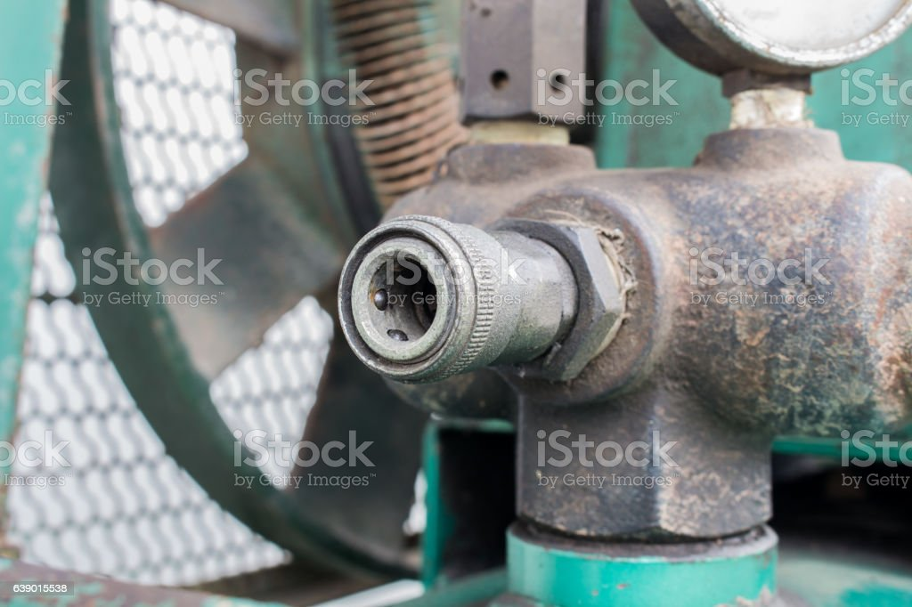 The quick Fitting / coupler with air compressor stock photo
