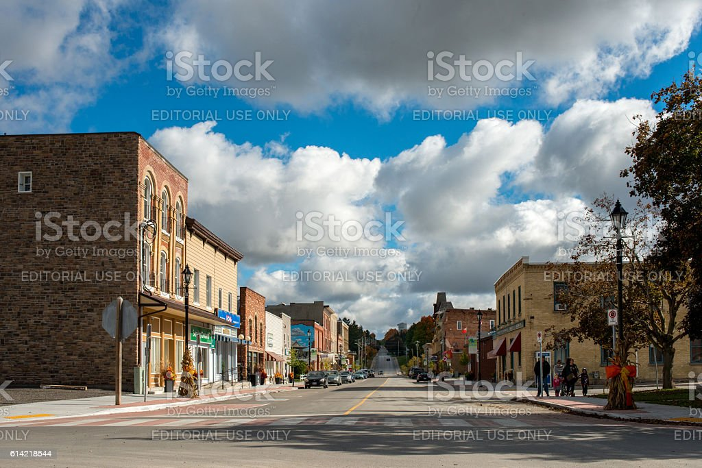 The quiet main street of small town Millbrook in Canada stock photo