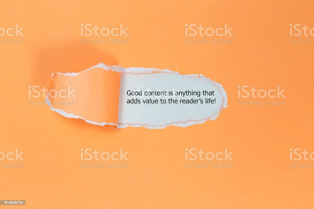 The quote Good content is anything stock photo