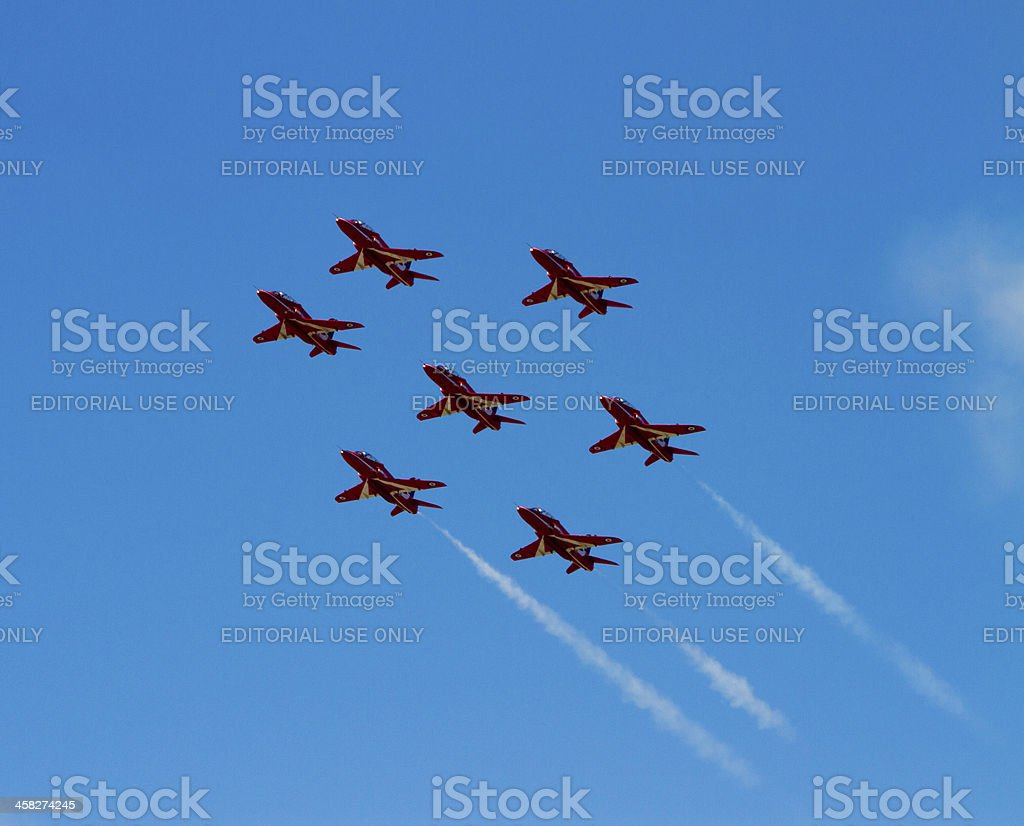 The RAF Red Arrows royalty-free stock photo