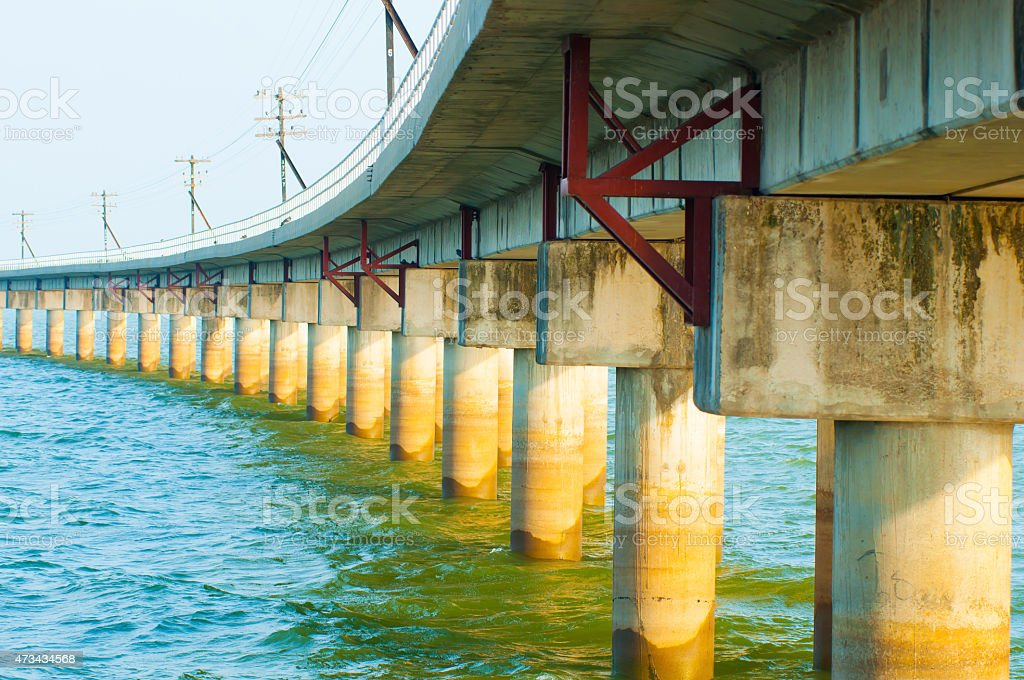 The railway bridge over the river stock photo