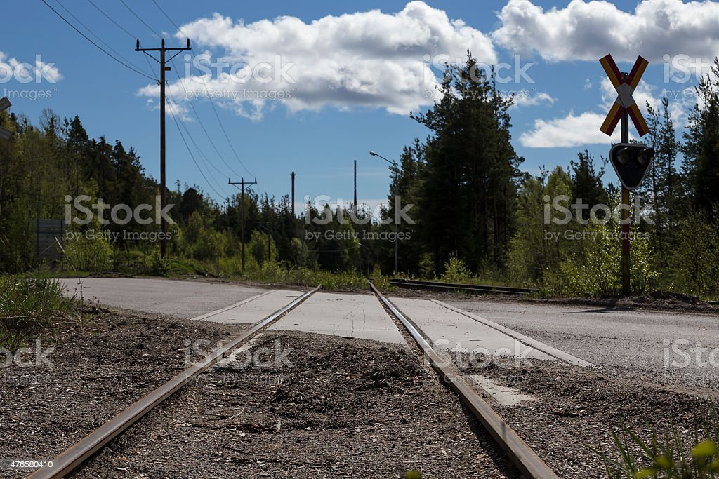 The railway crossing royalty-free stock photo