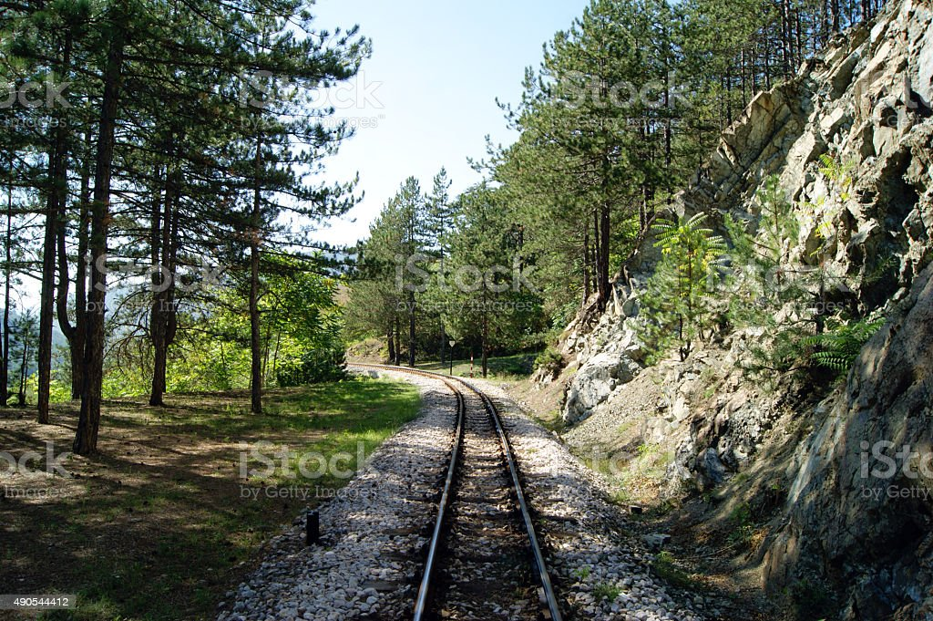 The railway into the distance stock photo