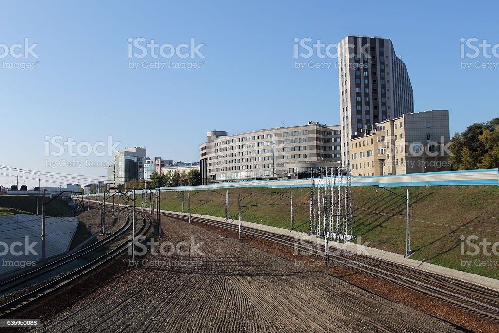 The railway track in the centre of Novosibirsk. stock photo