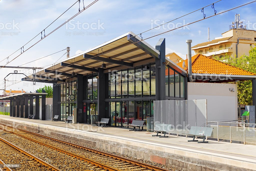 The Railways Stations in the suburbs of Barcelona. stock photo