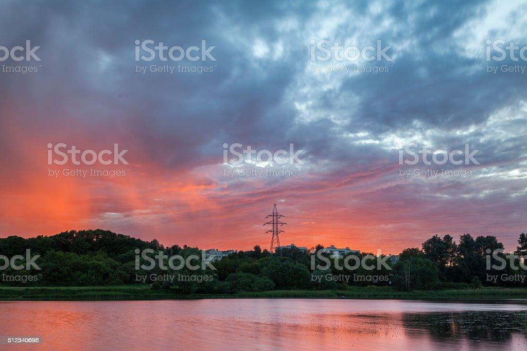 The rain on sunset stock photo