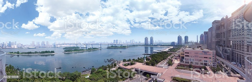The Rainbow Bridge at Odaiba in Japan. stock photo