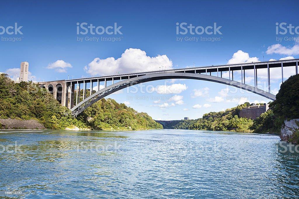 The Rainbow Bridge between USA and Canada at Niagara Falls stock photo