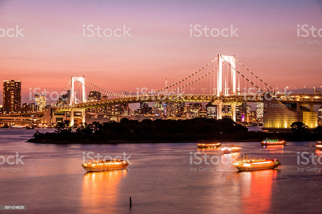 The Rainbow bridge in Daiba in Tokyo. stock photo