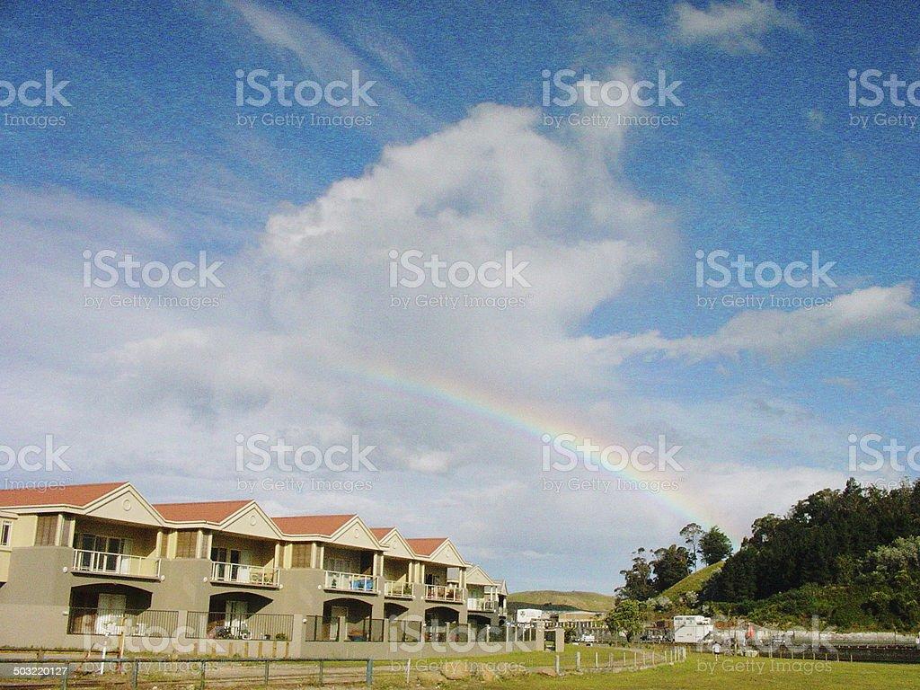 The rainbow of Gisborne stock photo