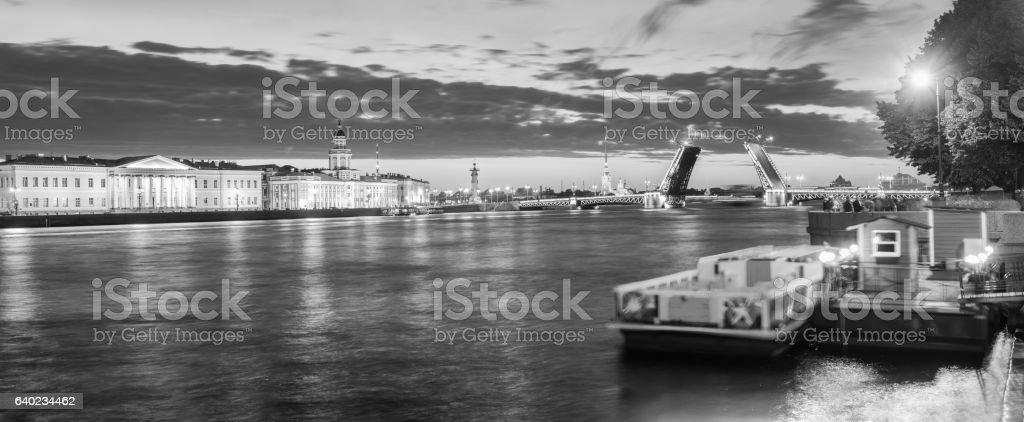 The raised Palace bridge at white nights , black-and-white image stock photo