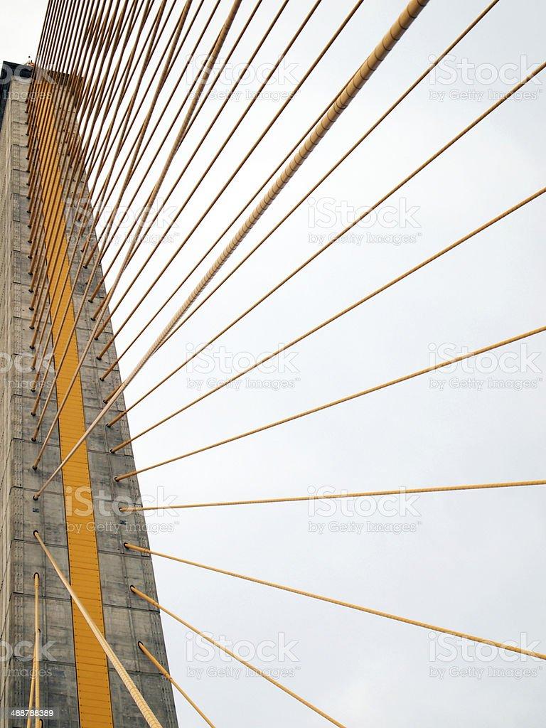 The Rama 8 Bridge at daytime in Bangkok, Thailand stock photo