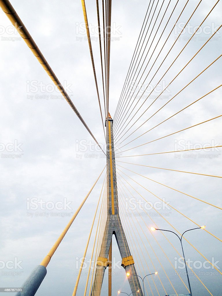 The Rama 8 Bridge at evening in Bangkok, Thailand stock photo