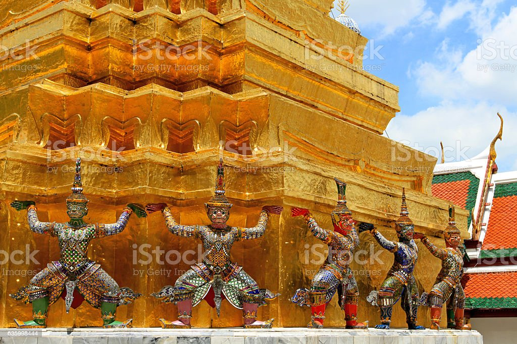 The ramayana giant statues standing stock photo