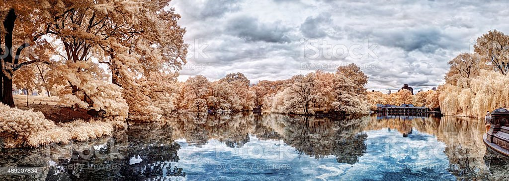 The Ramble and Lake, Central Park - in Infrared stock photo