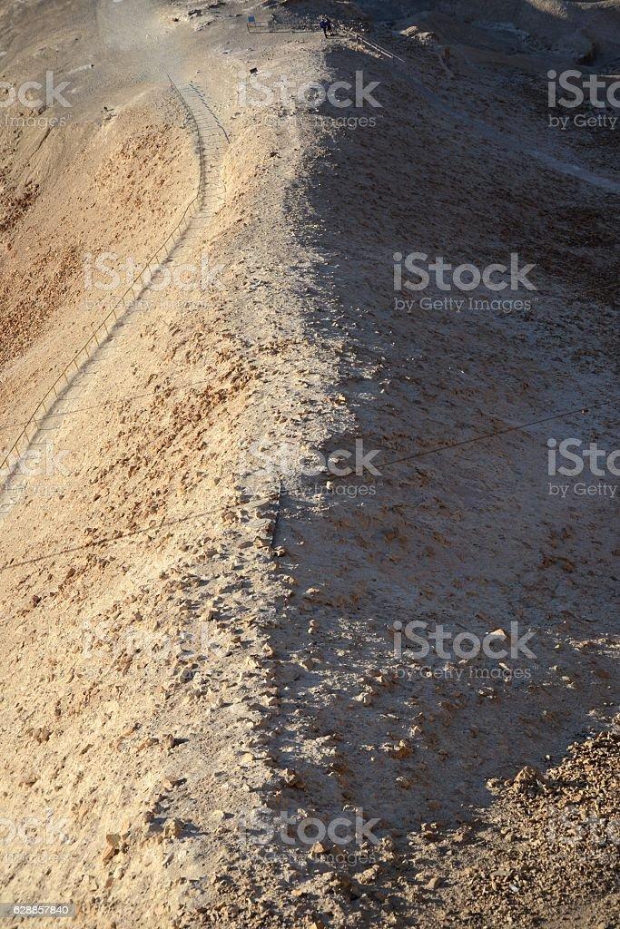 The ramp near Masada built by Roman Army stock photo