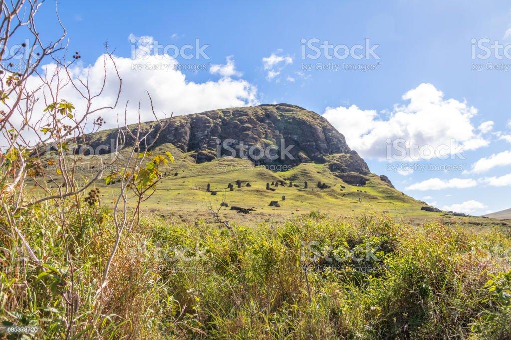 The Rano Raraku Volcano Quarry where Moai Statues were carved - Easter Island, Chile stock photo