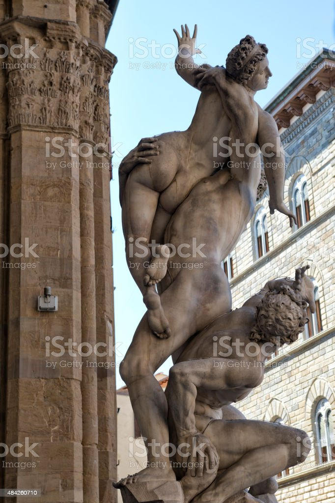 The Rape of the Sabine Women in Florence stock photo