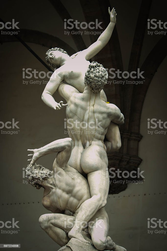 The Rape of the Sabine Women (1574–82) MARBLE SCULPTURE FLORENCE ITALY stock photo