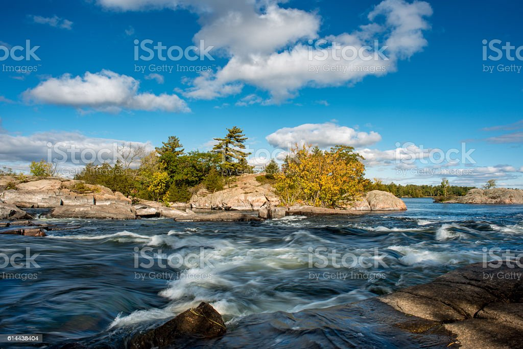 The rapids water of Burleigh Falls in Canada stock photo
