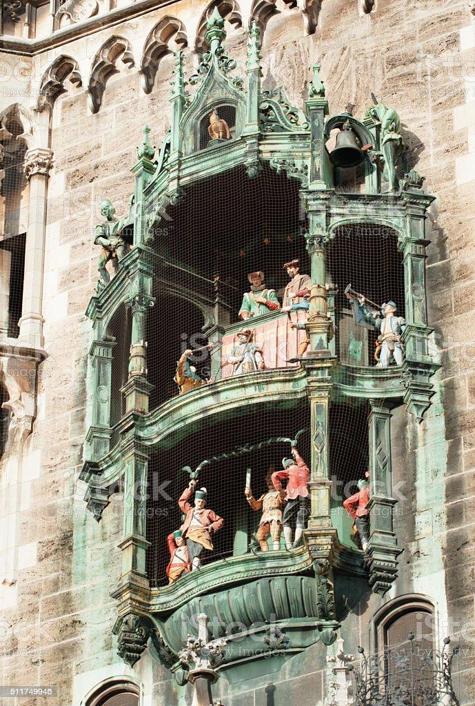 The Rathaus-Glockenspiel - Clock Tower of Munich stock photo