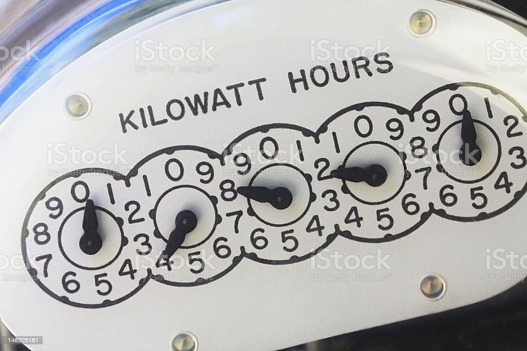 The reading of an electric meter is displayed stock photo